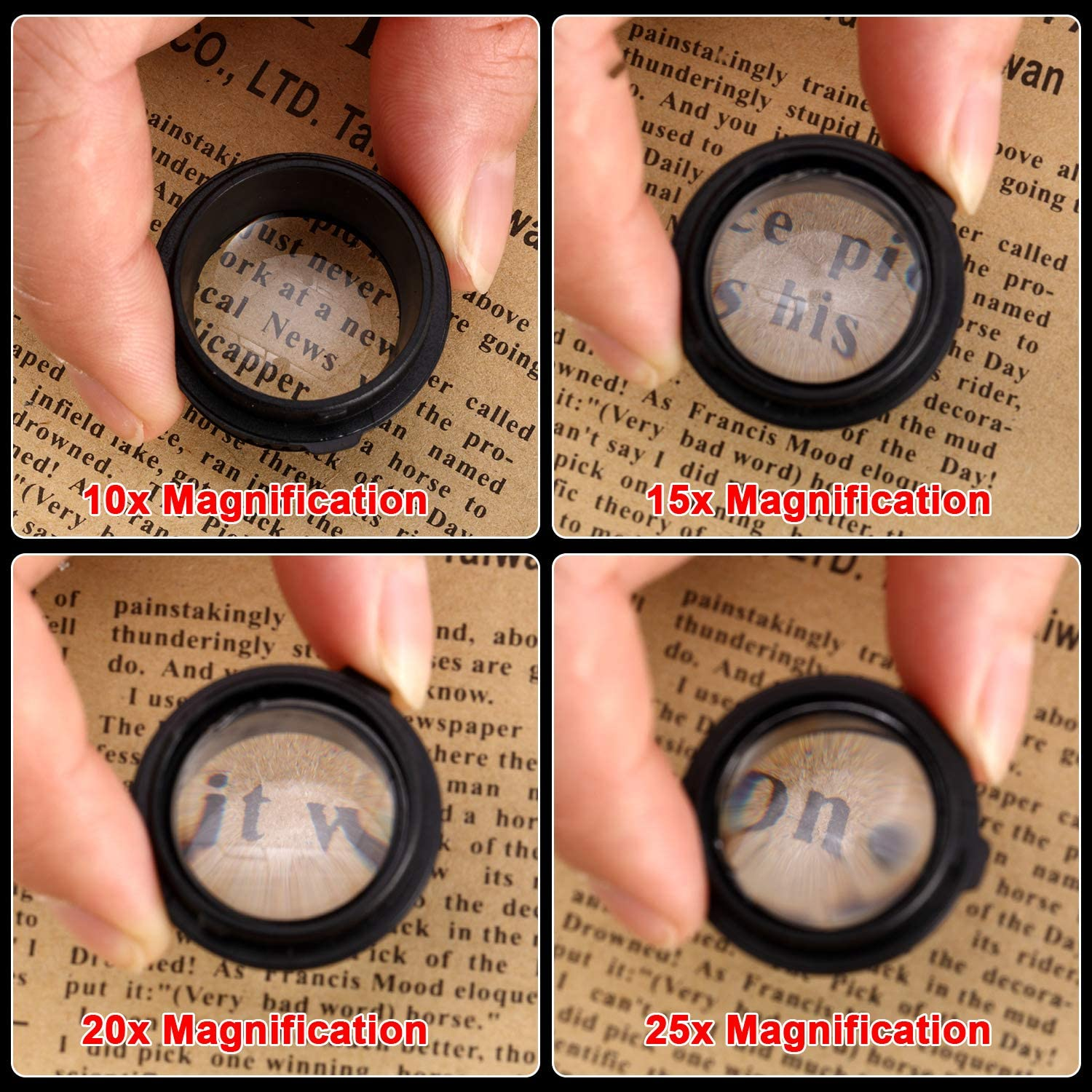 Precision Tweezers/and 4 Interchangeable Lens 10x// 15x// 20x// 25x with Storage Bag for Jewelry Clock Repair Loupe Headband Magnifying Glass Headband Magnifier with Led Light
