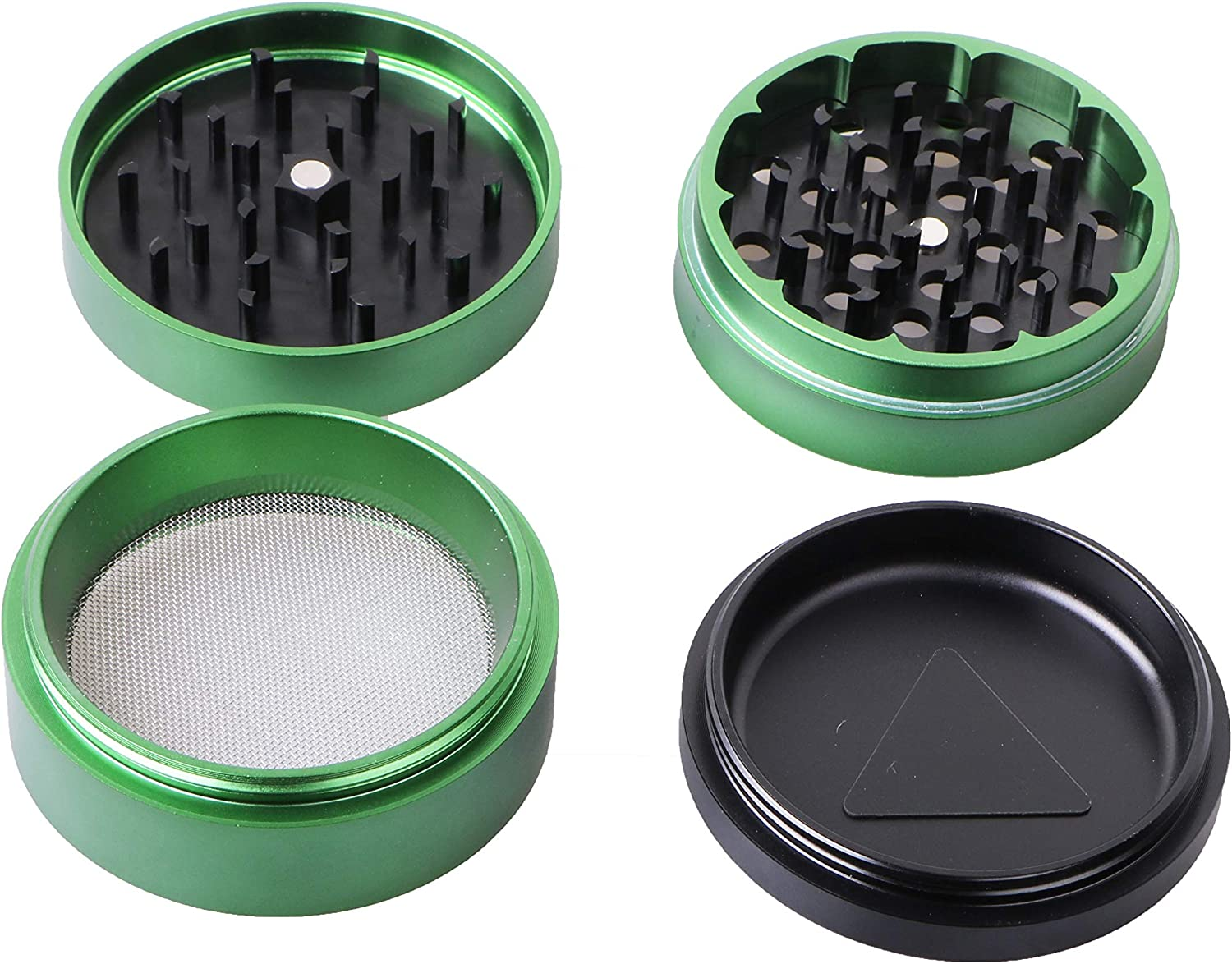 4 Piece Premium Aluminum Herb Grinders,Speaker Design Metal Tobacco Grinder with Sifter and Magnetic Top,2.4inch,Gold
