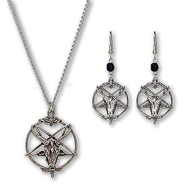 Baphomet Inverted Pentacle Pentagram Goat Head Satanic Necklace and Dangle Earrings Jewelry Set Z4fNYmC