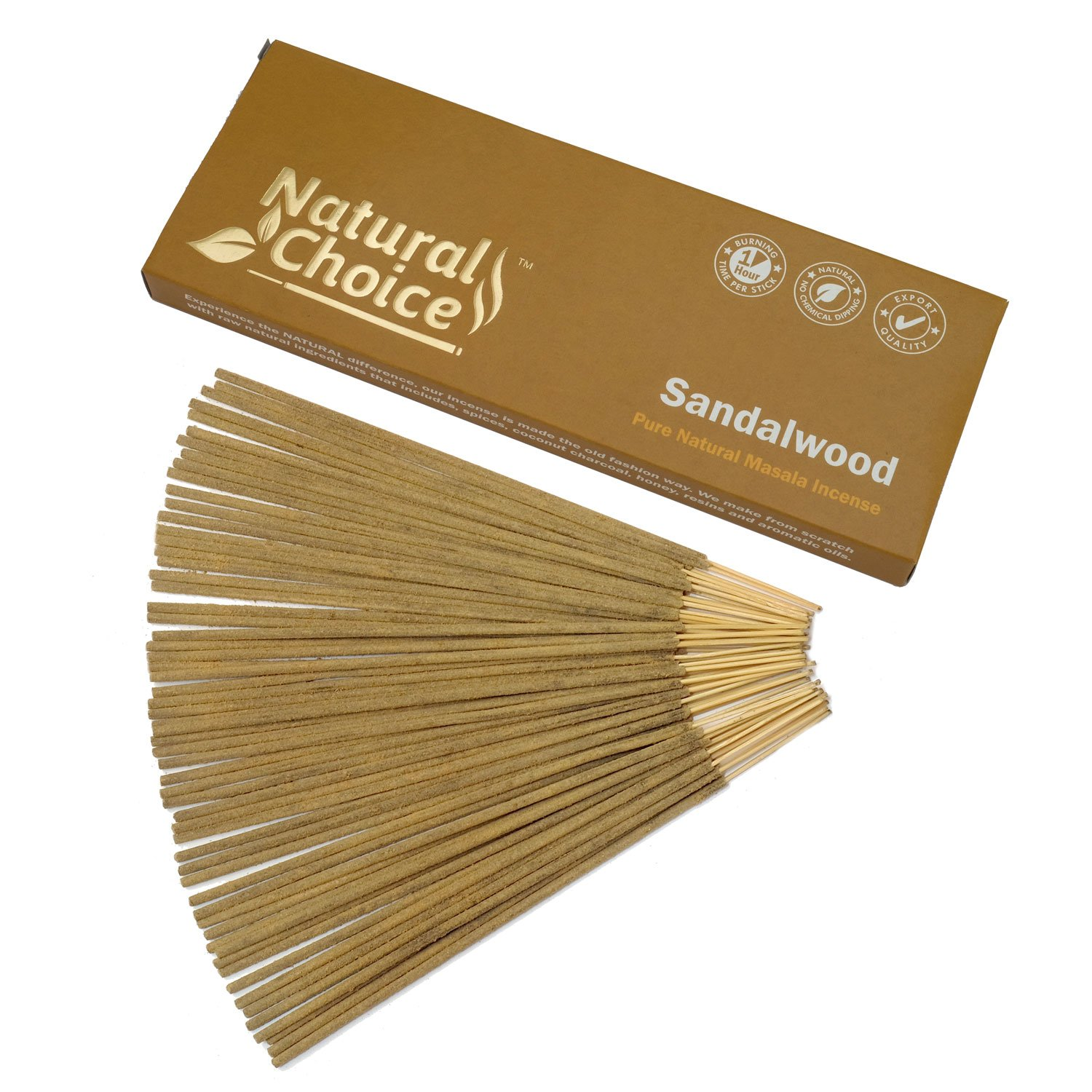 Natural Choice Incense Sandalwood Incense Sticks 100 Grams, Low Smoke Traditional Incense Sticks Made from Scratch, Never Dipped