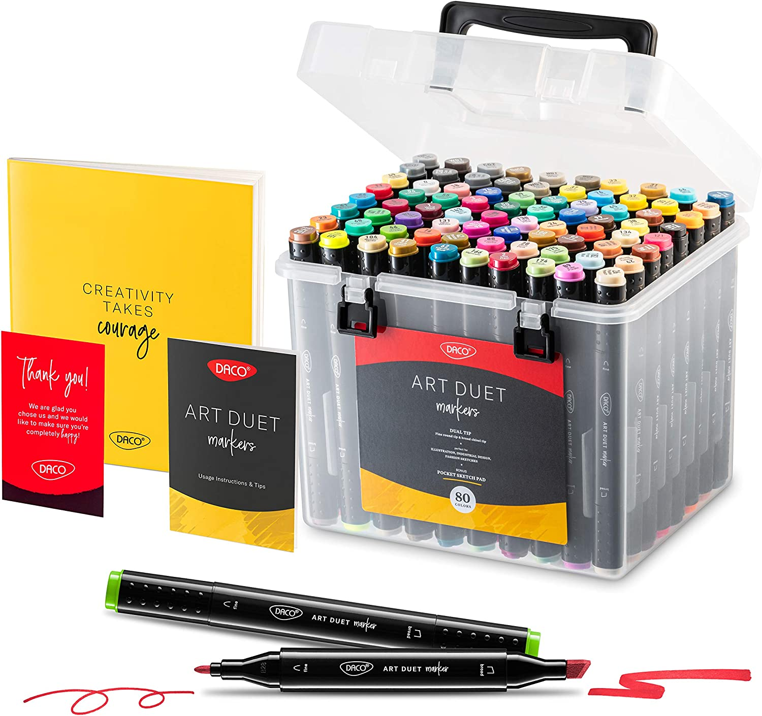DACO Art Duet Alcohol Markers, Art Set of 79 Colors, 1 Blending Marker + 1 Sketch Pad, Travel-Friendly, Dual Tip Professional Markers for Artists, Adult Coloring Books, Sketching, Drawing, Card Making