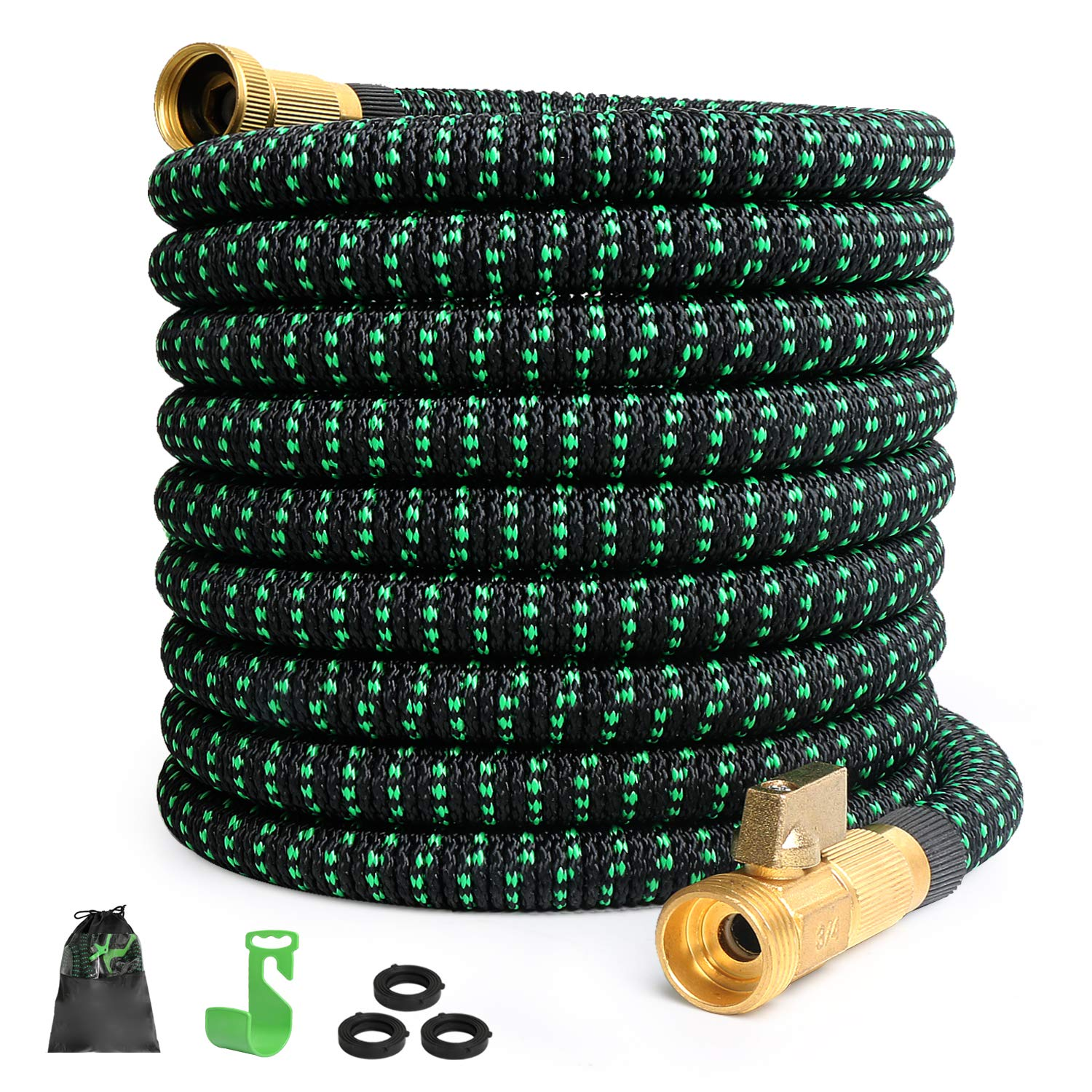 100FT Expandable Garden Hose Expanding Water Hose with 3/4'' 100% Brass Connector, 100' Flexible Gardening Hoses with Extra Strength Fabric and Multi-Layer Latex Core, Lightweight Yard Outdoor Hose by monyar
