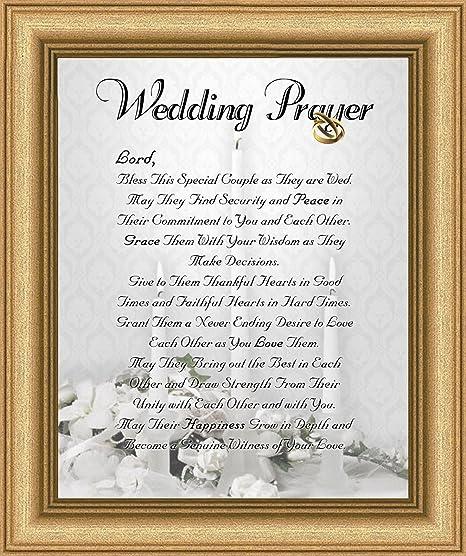 Wedding Marriage Anniversary Prayer Satin Gold Frame 8\