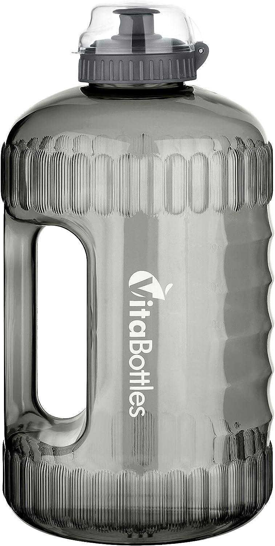 VitaBottles Gimnasio Fitness Botella para Beber 2.2 litros XXXL Libre de BPA Libre de DHEP Negro Rojo Azul Deportes Botella para Beber Contenedor de Agua Galón de Agua