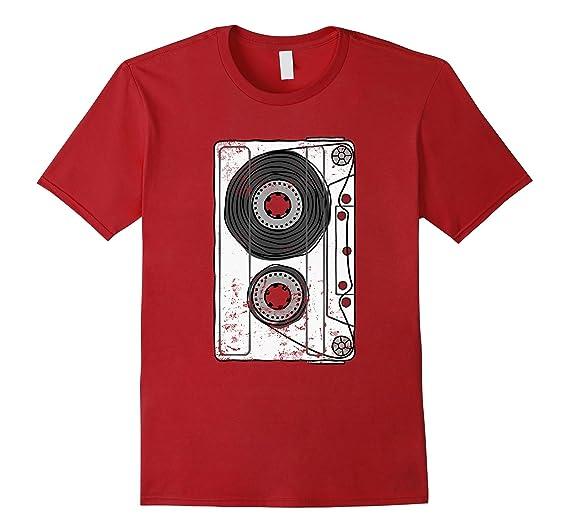 2ebc3377 Mens Vintage Retro Mixtape 80s Blank Cassette Tape T-Shirt 2XL Cranberry