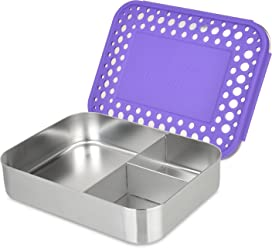 LunchBots Bento Trio Large Stainless Steel Food Container - Three Section Design Holds Sandwich and Two Sides - Bento Lunch Box for Kids or Adults - Dishwasher Safe and BPA-Free – Purple Dots