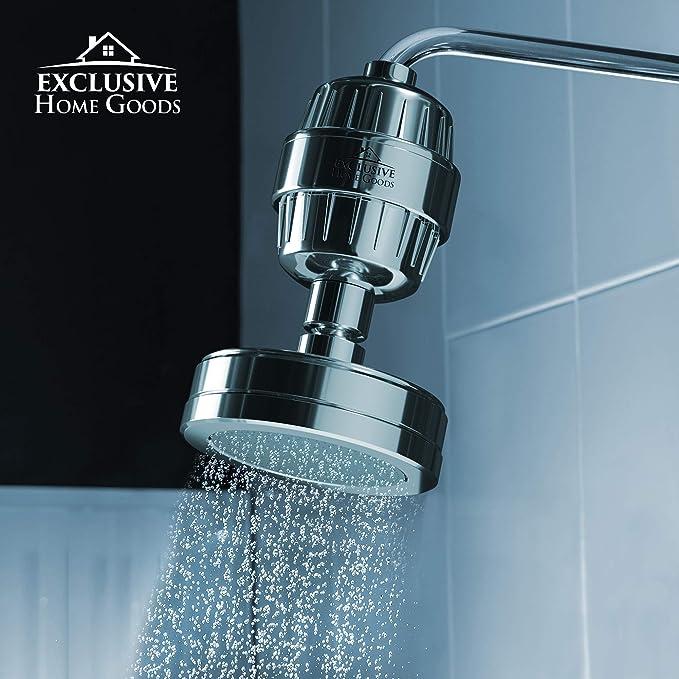 Exclusivo Home Goods purificador de agua de filtro de ducha de lujo, suavizante de agua de 15 etapas, elimina el ...