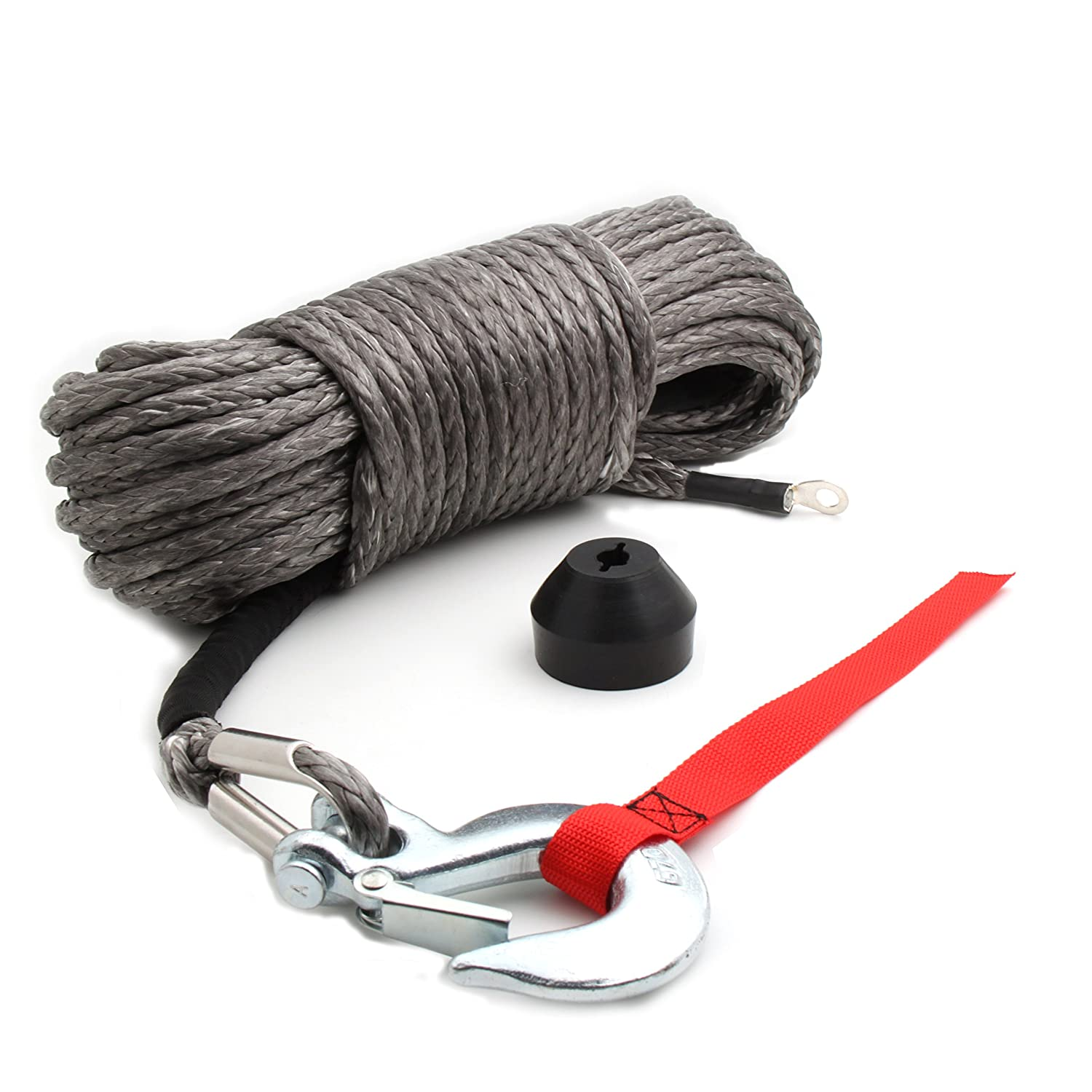 "Synthetic Winch Rope Kit, 50x3/16"" Rope w/Snap Hook and Rubber Stopper for 4x4/Off-road/ATV/Jeep/etc. Offroading Gear"