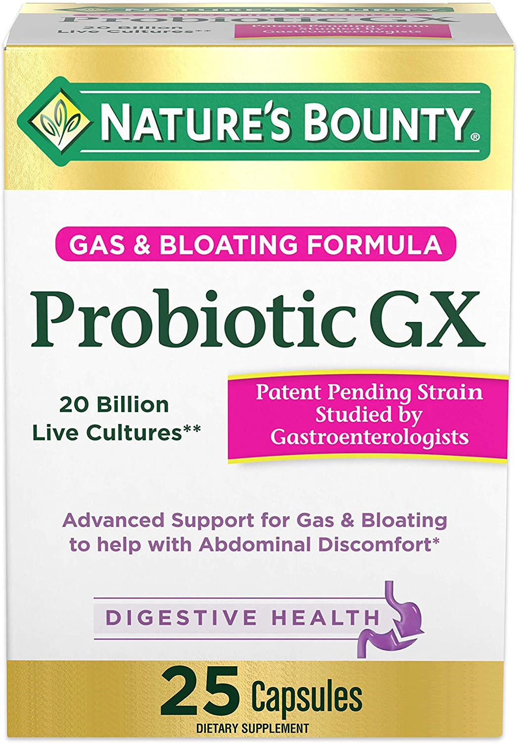 Probiotic, for Occasional Gas and Bloating Dietary Formula by Nature's Bounty, Dietary Supplement, Helps with Abdominal Discomfort, Promotes Digestive Health, 25 Capsules: Health & Personal Care