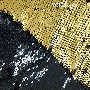 Mermaid Sequins Fabrics Reversible Stretch Fashion Fabric Gold-Navy By The Yard