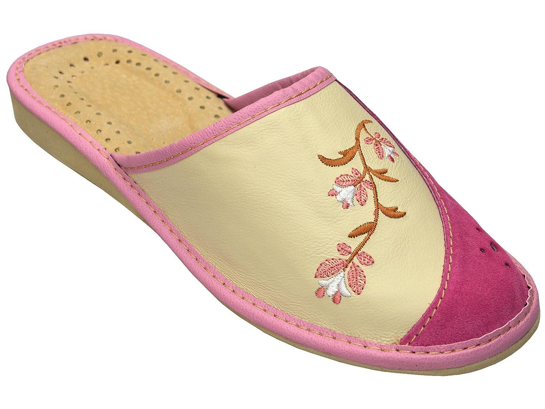 Bawal Chaussons pantoufles pour les femmes confort 36-41 naturel pantoufles cuir femmes chaussons pantoufles marron taille 36-41 Beige-Rosa 11770bb - fast-weightloss-diet.space