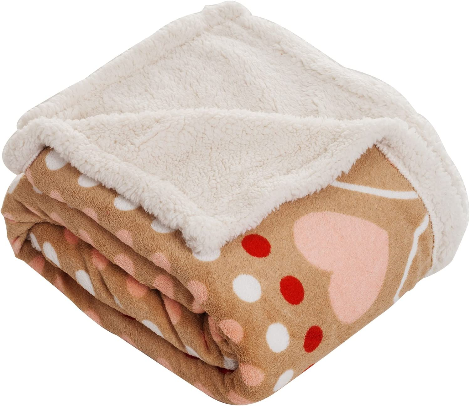 Lavish Home Throw Blanket, Fleece/Sherpa, Red Hearts