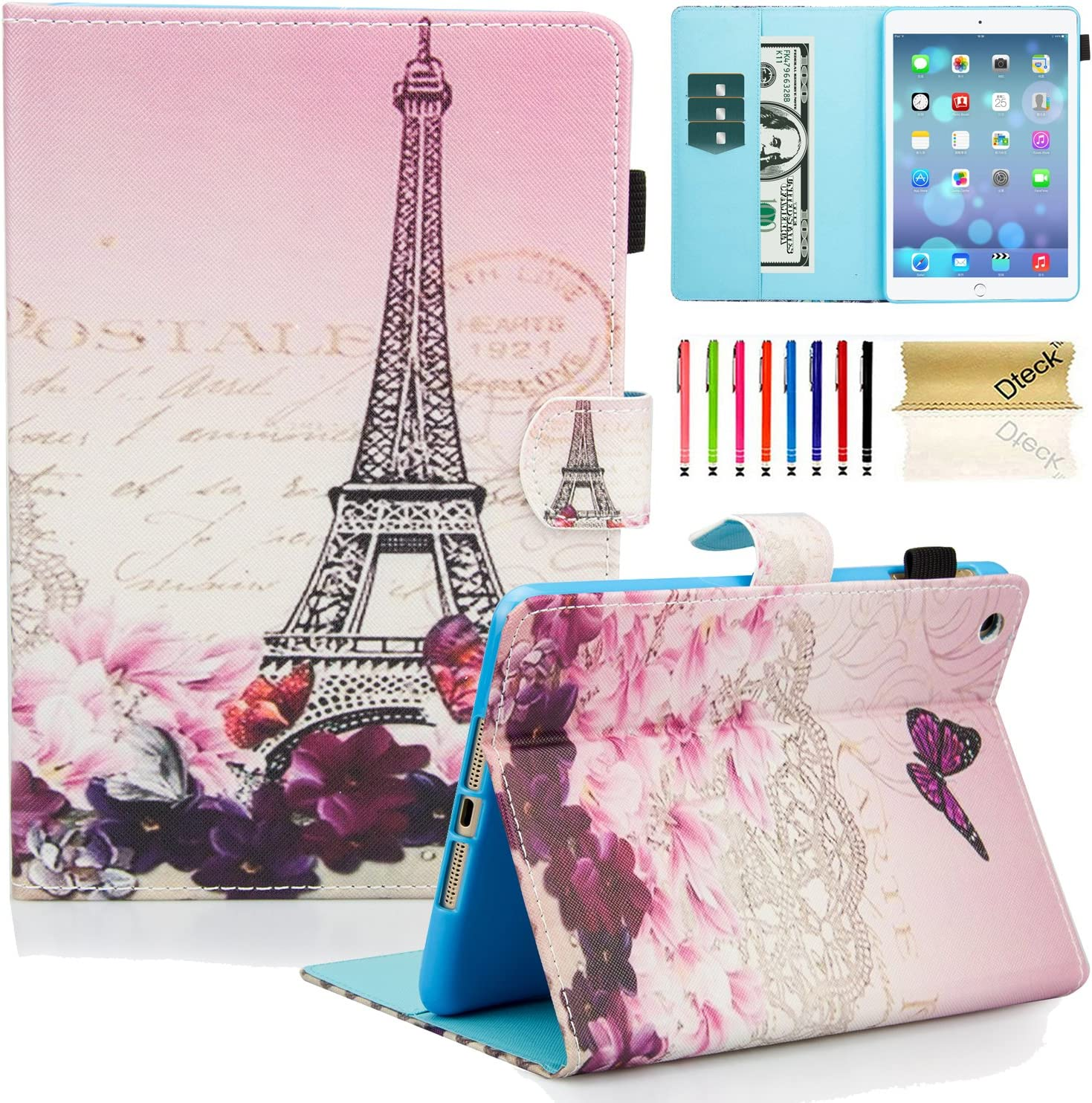 iPad Mini Case, iPad Mini 2/3/4/5 Case - Dteck Slim Folio Stand PU Leather Smart Wallet Case with Auto Wake/Sleep Magnetic Cover for Apple iPad Mini 5/ Mini 4/ Mini 3 / Mini 2 / Mini 1, Romantic Paris