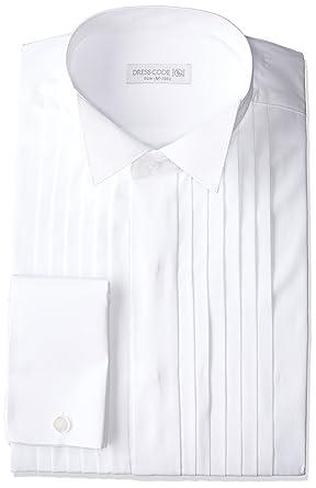b8623376c6e45 Amazon.co.jp:  ドレスコード101  ウィングカラー 長袖ワイシャツ ダブルカフス ピンタック 結婚式 新郎 SHIRT-4012   服&ファッション小物