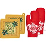 Fabnest Home 100% Cotton Padded Red Oven Gloves and Pot Holder in Mustard I for Christmas and Festive Parties (Pack of 4)