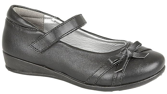 girls school shoes touch fastening one bar heart diamante trim hard wearing sole