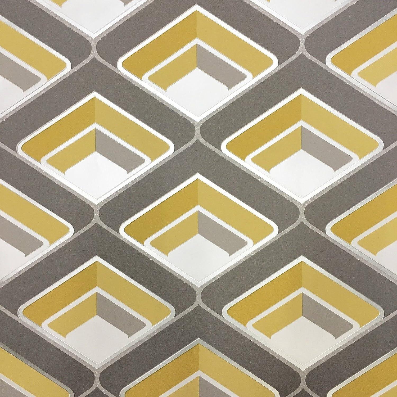 Grandeco Geo In Yellow Geometric 3d Effect Retro Textured Wallpaper A16001 Amazon Co Uk Diy Tools