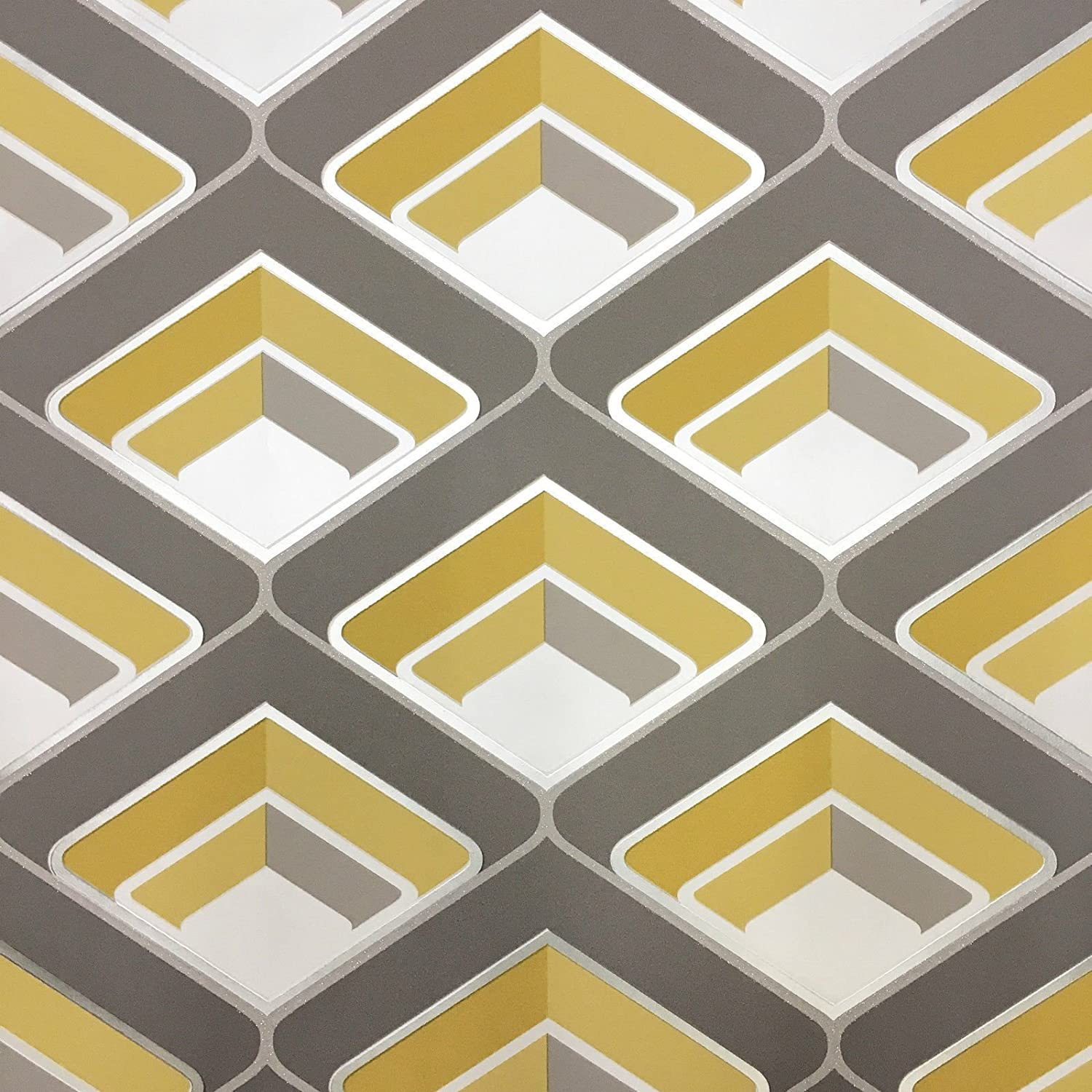 Grandeco Geo In Yellow Geometric 3D Effect Retro Textured