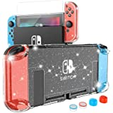 Crystal Case for Nintendo Switch, Dockable Glitter Bling PC Protective Case Compatible with Nintendo Switch Console and JoyCo