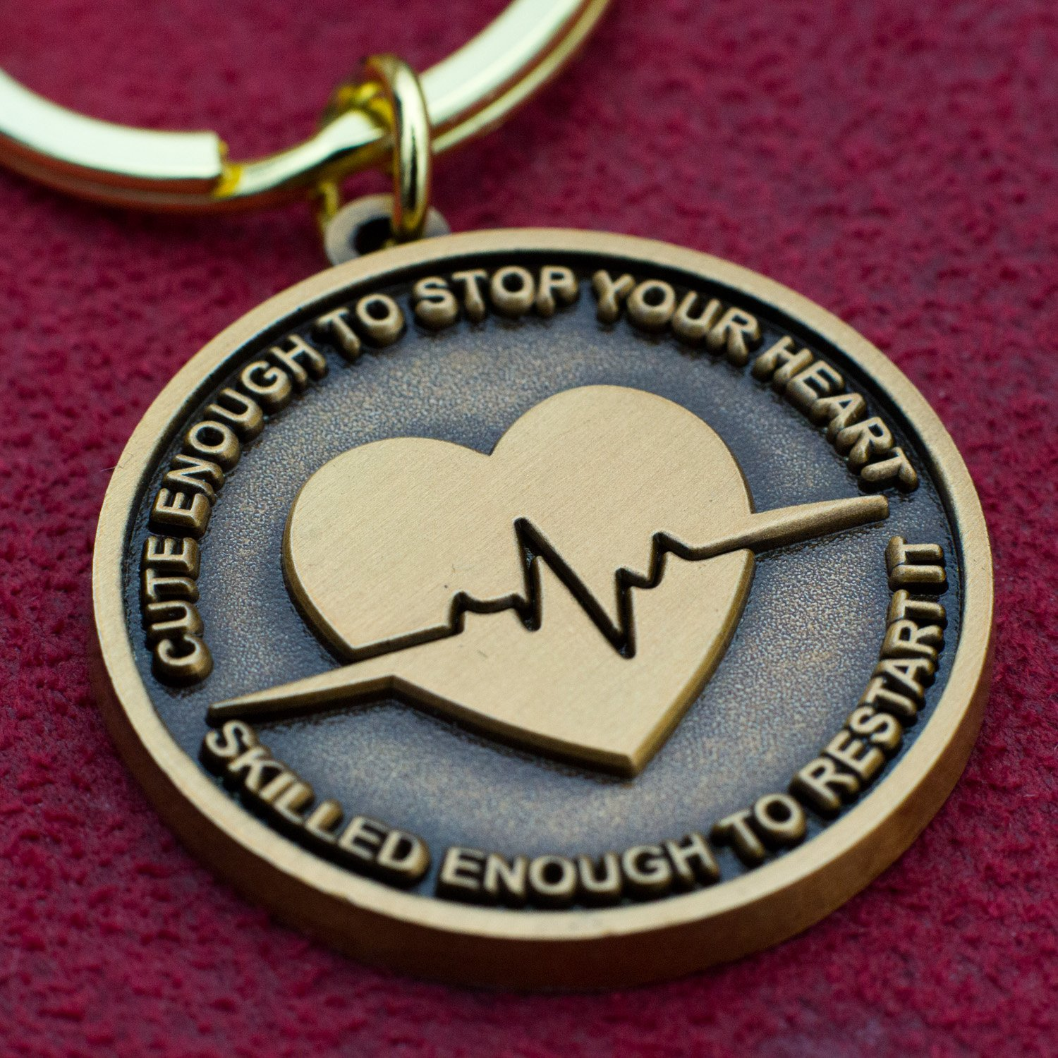 Nurse Gift Idea - ''Cute Enough To Stop Your Heart, Skilled Enough To Restart It'' Keychain by Nurse Gifts (Image #4)
