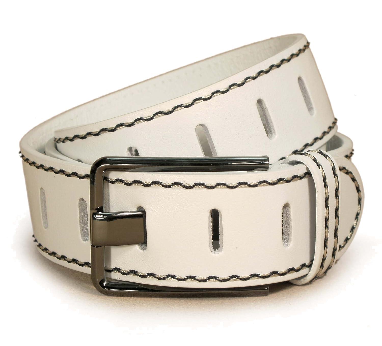 """(CM1-112) Hombre Cinturón Blanco 100% Cuero Real 28,30,32,34,36 pulgadas Ancho 1,5"""" Cuero italiano"""