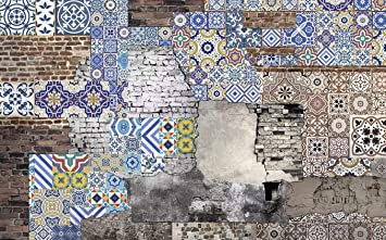 Duvarkapla Mavi Chinoiserie Desenli Sokak Sanatı 3d Duvar Kağıdı