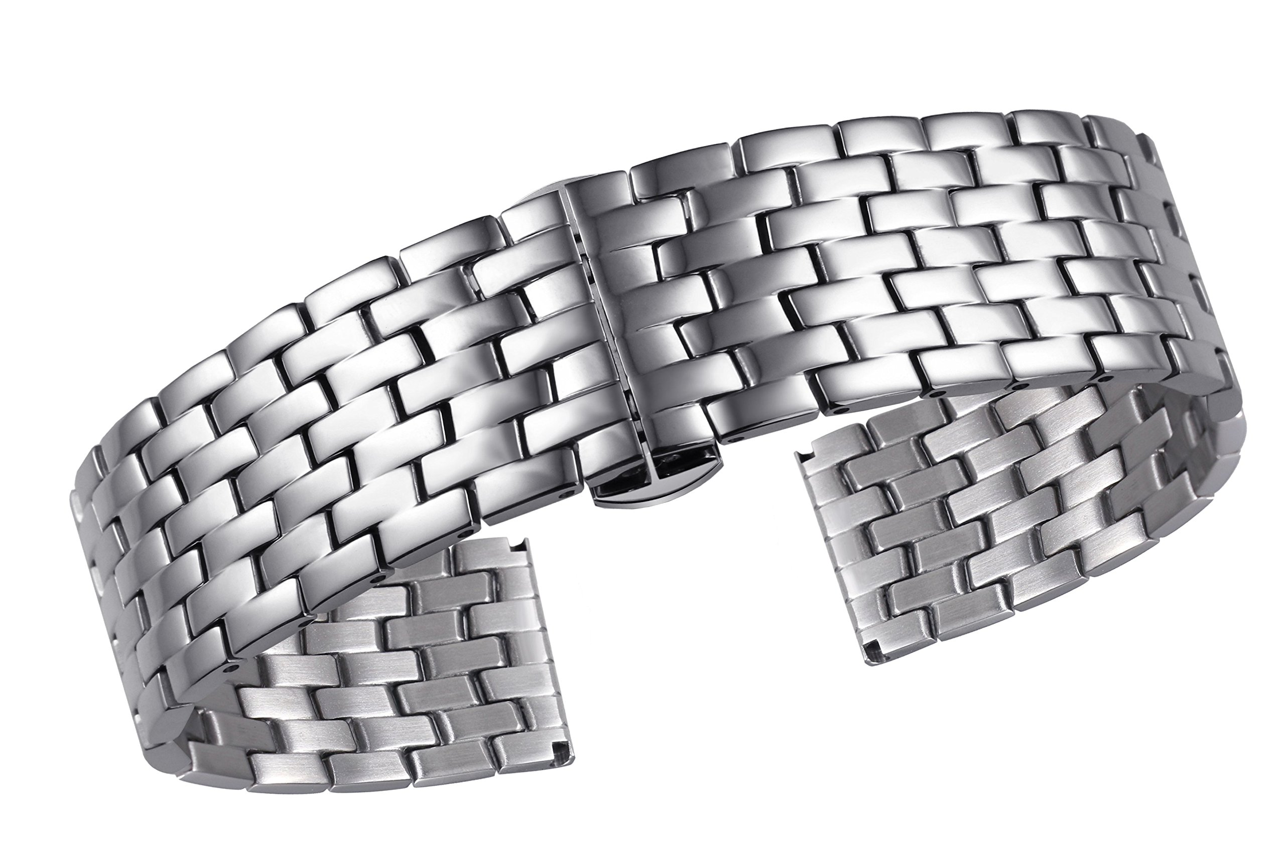 autulet 14mm Ladies' Wonderful Stainless Steel Watch Bracelets in Silver with Solid Links for Small Wrist Watches