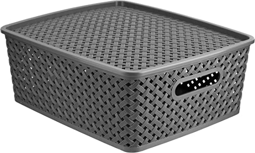 Caja de almacenaje de ratán efecto 40 x 28 x 20 cm: Amazon.es: Hogar