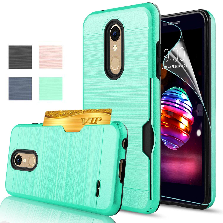 AnoKe LG K30 Case LG K10 2018/Premier Pro LTE/Phoenix Plus Case With HD  Screen Protector,[Card Slots Wallet Holder]TPU Hybrid Shock Proof Heavy  Duty