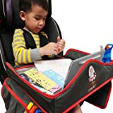 Kids Waterproof Travel Tray with Erasable surface. Premium Toddler Snack and Activity Tray with Side Pockets and Wet Wipe for Any Car Seat, Stroller, Airplane and High Chair by Little Explorer