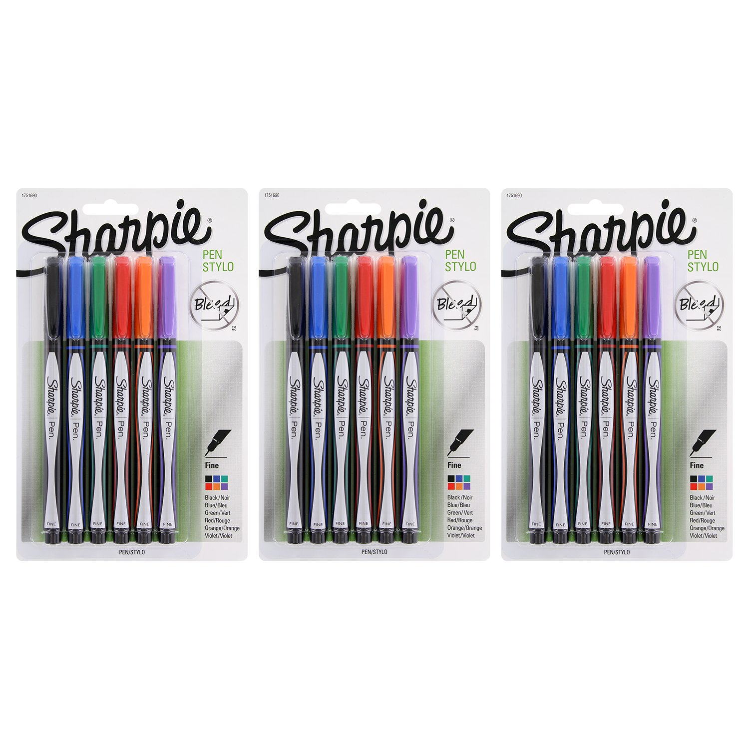 Sharpie Plastic Point Stick Fine Point Water Resistant Pens, Assorted (18-Count)