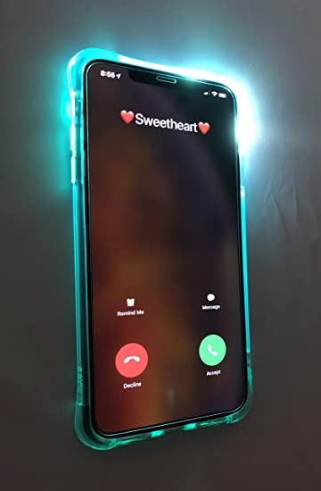 new style 81f68 48f0e iPhone X Flashing Light Up Incoming Call Clear Anti-scratchTransparent Back  Cover Solid Colored Soft TPU Cell Phone Cover (Blue)