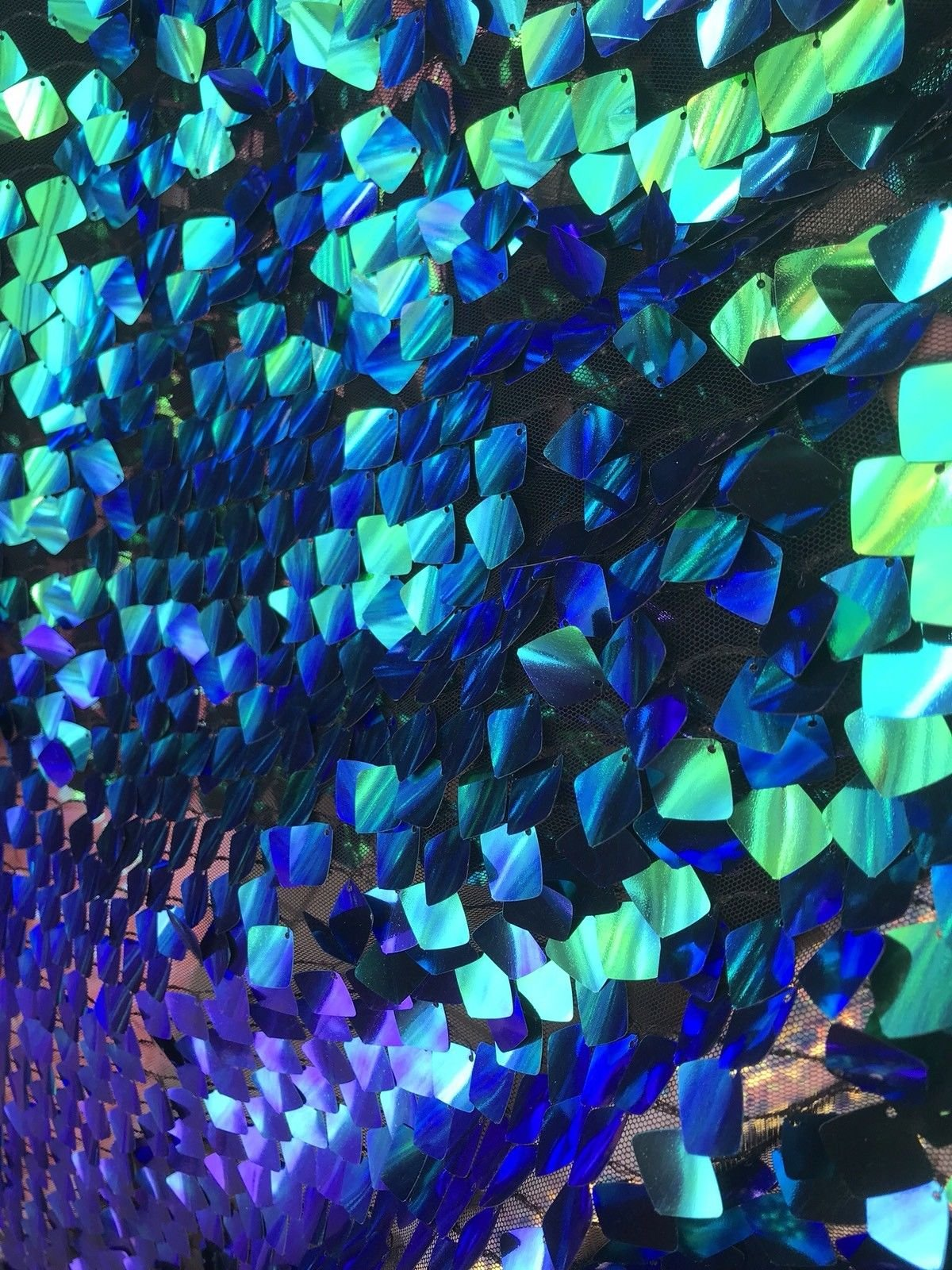 GREEN IRIDESCENT SEQUINS-DRAGON SCALES EMBROIDER ON A MESH-SOLD BY THE YARD. by NEW CREATIONS FABRIC AND FOAM INC