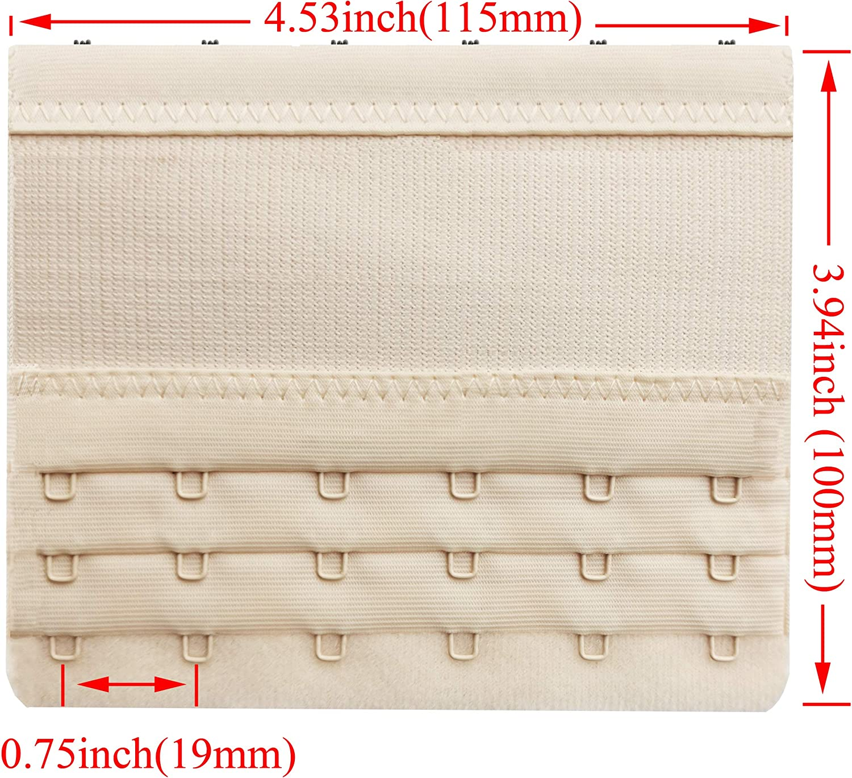 Women Elastic Bra Extenders 6 Hook for Plus Size Bras Back Extension Strap 3pcs