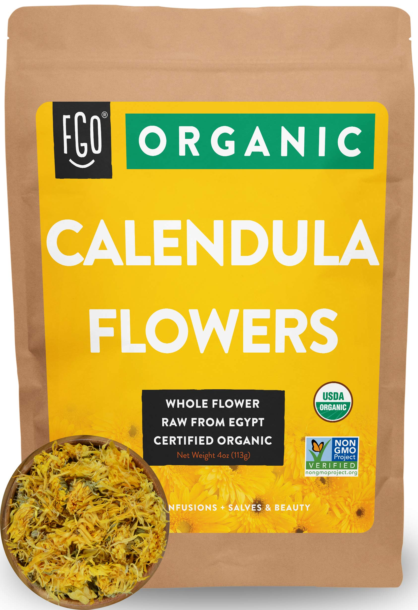 Organic Calendula Flowers | Whole | 4oz Resealable Kraft Bag | 100% Raw From Egypt | by FGO
