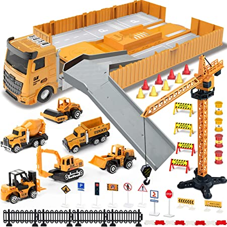 Construction Truck Car Toys Set, Tractor with Matchbox Bulldozer, Forklift, Steamroller, Dump, Cement Mixer, Excavator, Engineering Crane, Christmas Birthday Gifts for 3+ Years Old Kids Boys Girls