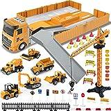 Construction Truck Car Toys Set, Tractor with Matchbox Bulldozer, Forklift, Steamroller, Dump, Cement Mixer, Excavator, Engin