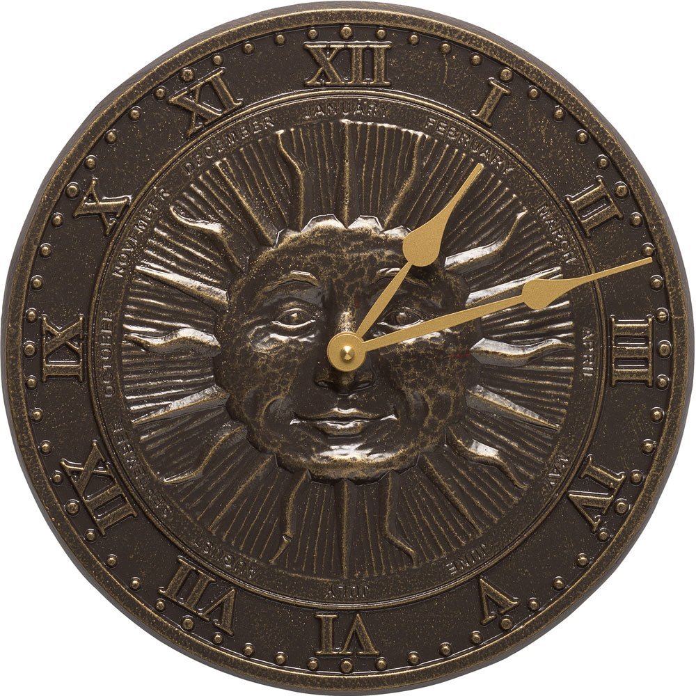MD Group Sunface Outdoor Clock, 12'' x 12'' x .5'' x 5 lbs, French Bronze