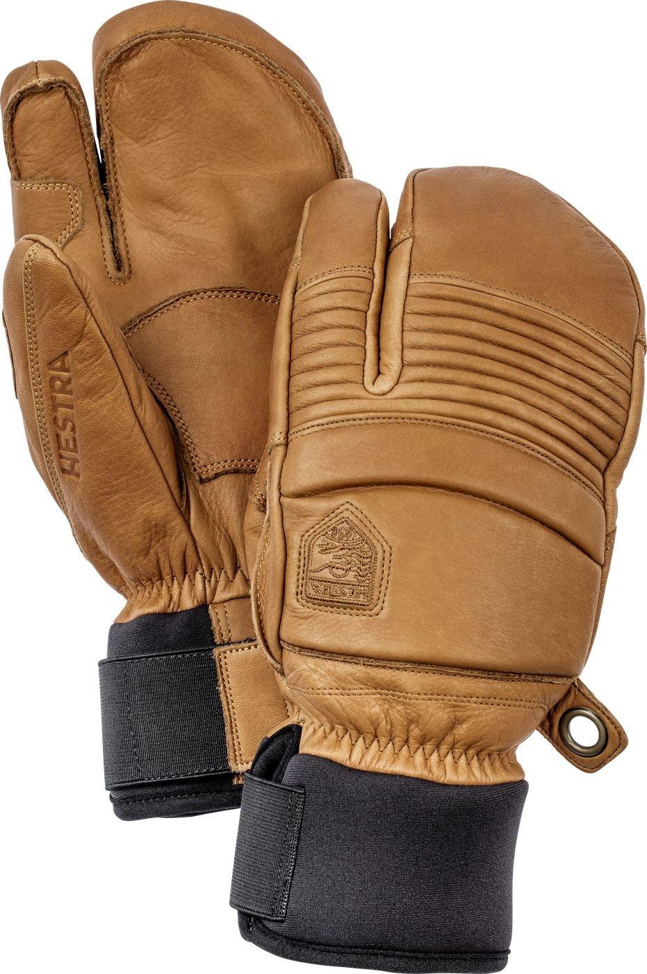 Hestra Hestra Mens Ski Gloves: Fall Line Winter Cold Weather Leather 3-finger Mittens 31472-860830-07