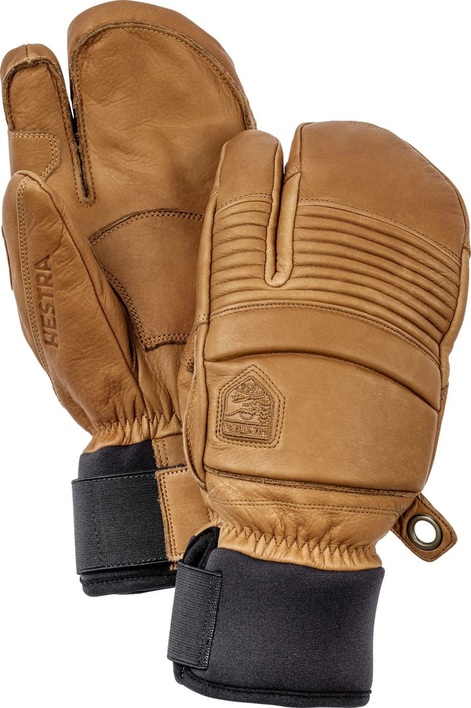 Hestra Mens Ski Gloves: Fall Line Winter Cold Weather Leather 3-Finger Mittens, Cork, 8