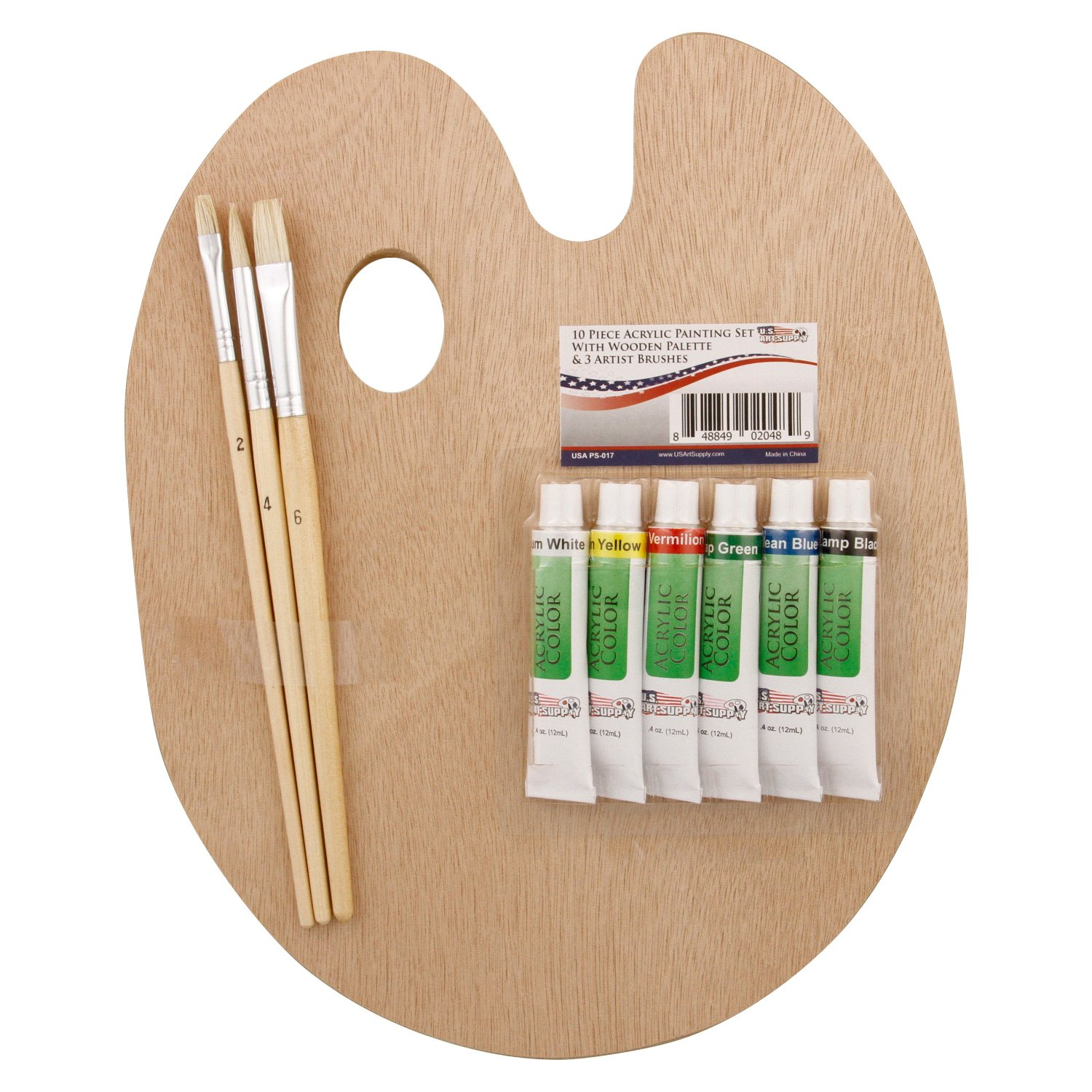 US Art Supply Wood Palette with 6-Piece Acrylic Paint Set & 3-Piece Brush Set PS-017