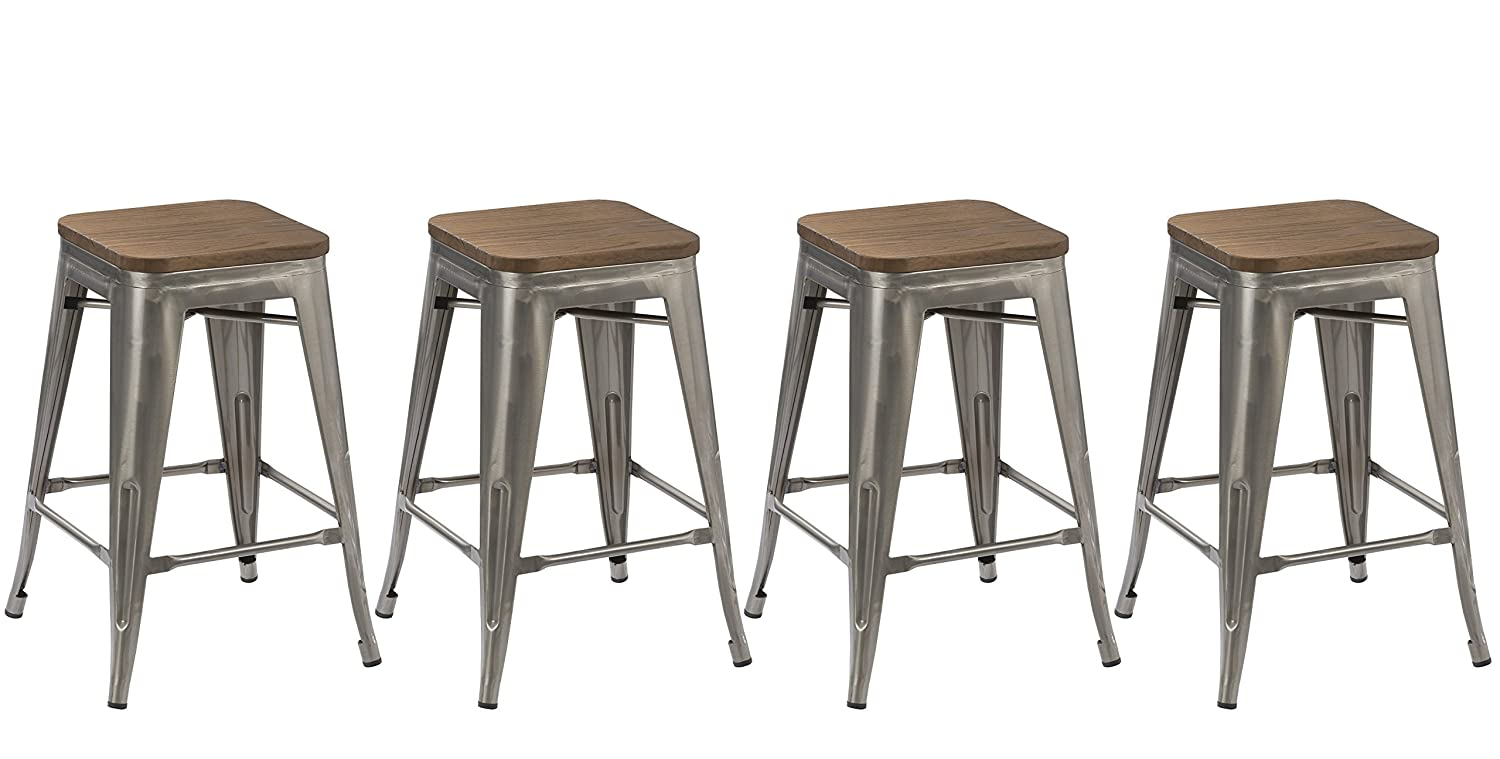 Amazon.com BTExpert 24-Inch Industrial Stackable Tabouret Metal Vintage Antique Style Clear Brush Distressed Counter Bar Stool Modern Wood Top Seat ...  sc 1 st  Amazon.com & Amazon.com: BTExpert 24-Inch Industrial Stackable Tabouret Metal ... islam-shia.org