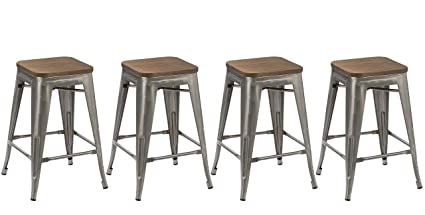 design de qualité 1a36d fe793 BTEXPERT 24-Inch Industrial Stackable Tabouret Metal Vintage Antique Style  Clear Brush Distressed Counter Bar Stool Modern Wood Top Seat, Set of 4 ...