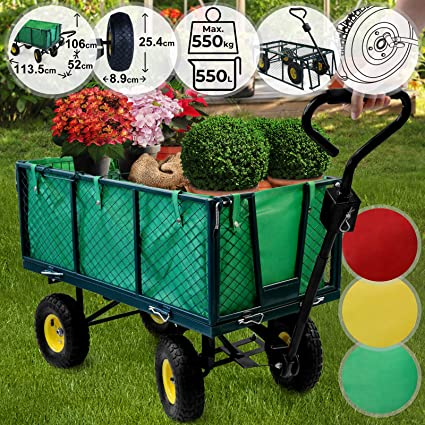 Jago Bollerwagen 114x52x88cm max Gartenanh/änger Gartenwagen Handwagen Klappbare Seitenw/ände Transportwagen 4 R/äder Farbwahl Strandwagen 350kg