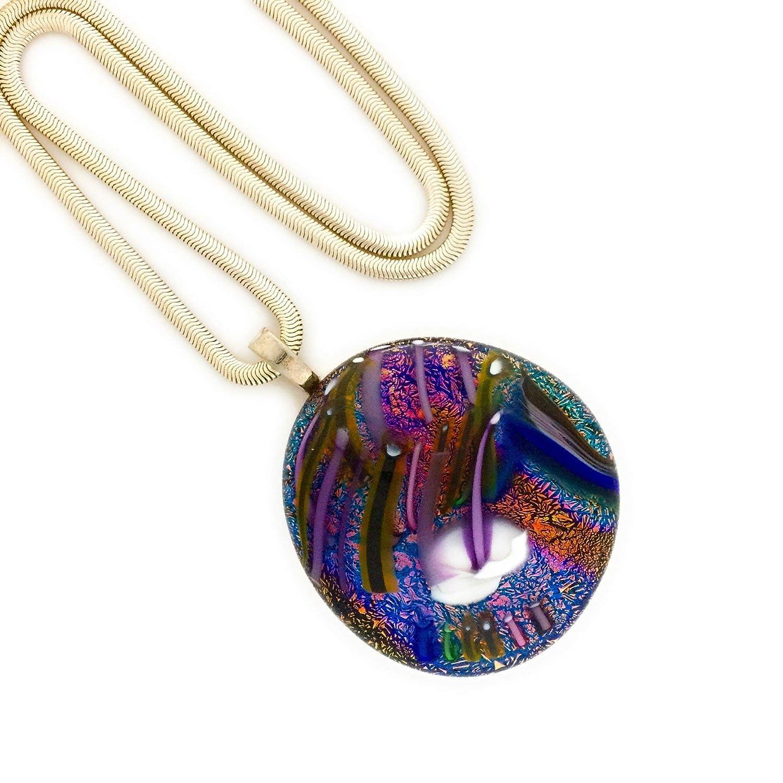 Dichroic Glass Transparent Blue /& Etched Multi Color Pendant