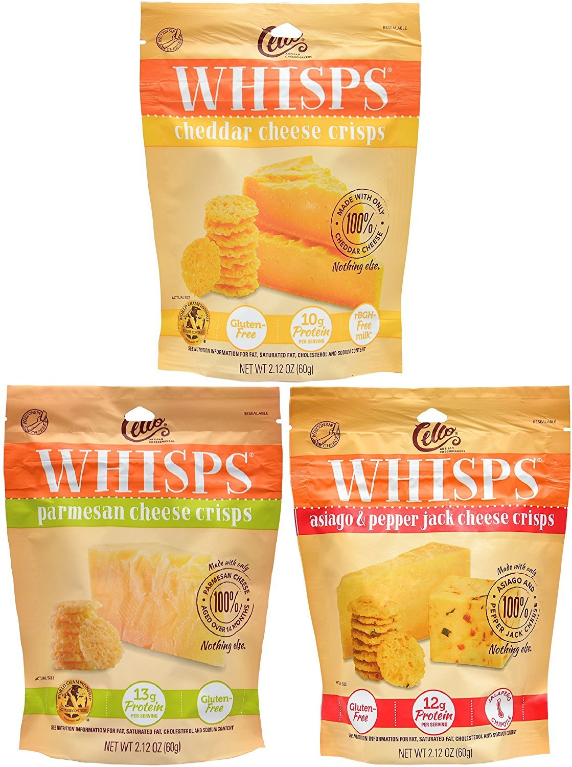Whisps Cheese Crisps 3 Pack Assortment (2.12oz) Cheddar, Parmesan & Asiago/Pepperjack