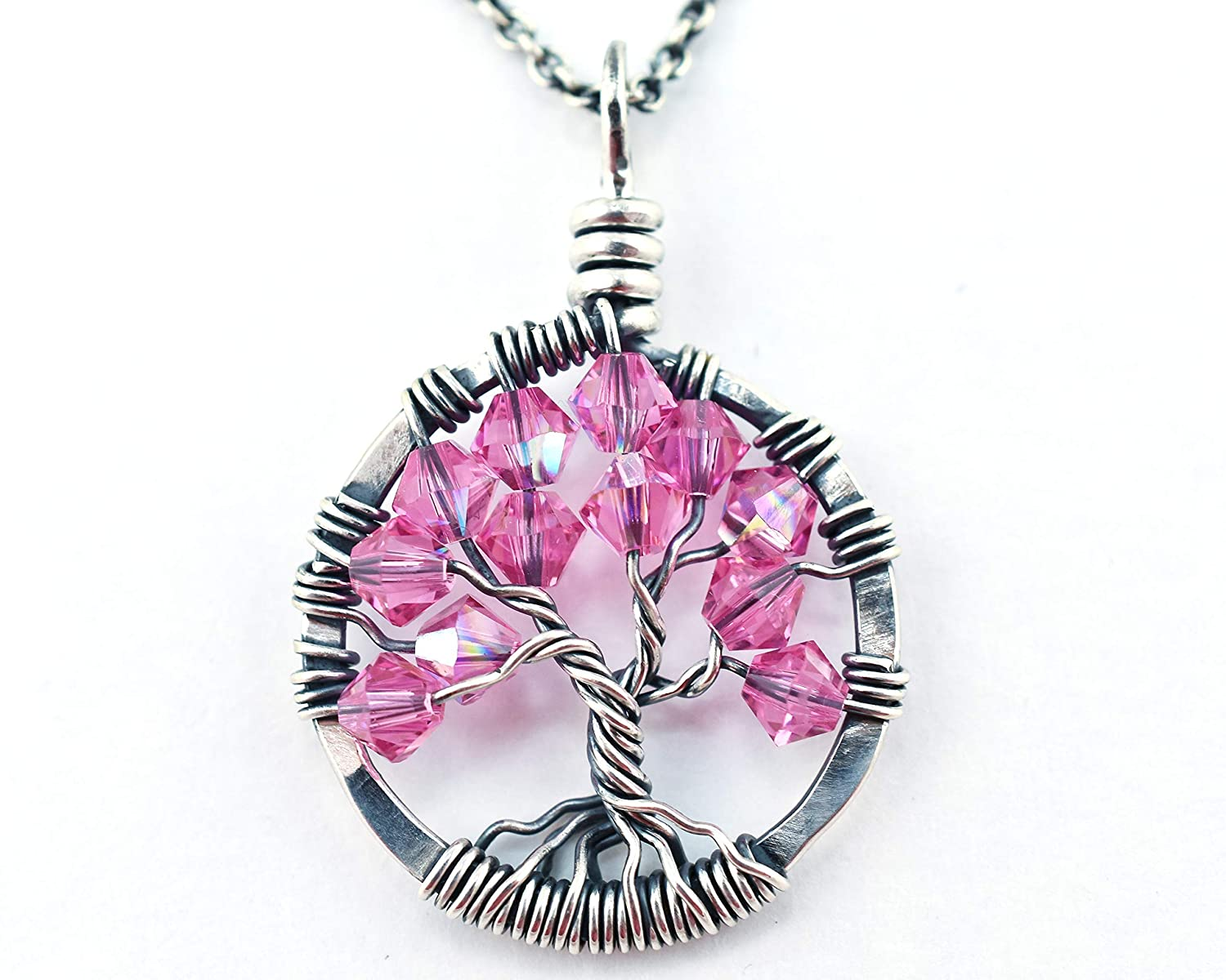 """pink sapphire necklace sterling silver 16/"""" wire wrapped"""