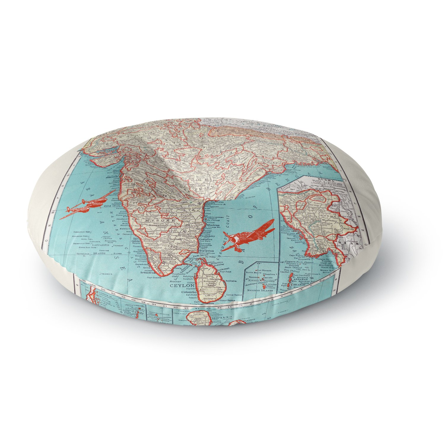 Kess InHouse Catherine Holcombe Travel to India Teal Red Round Floor Pillow 26