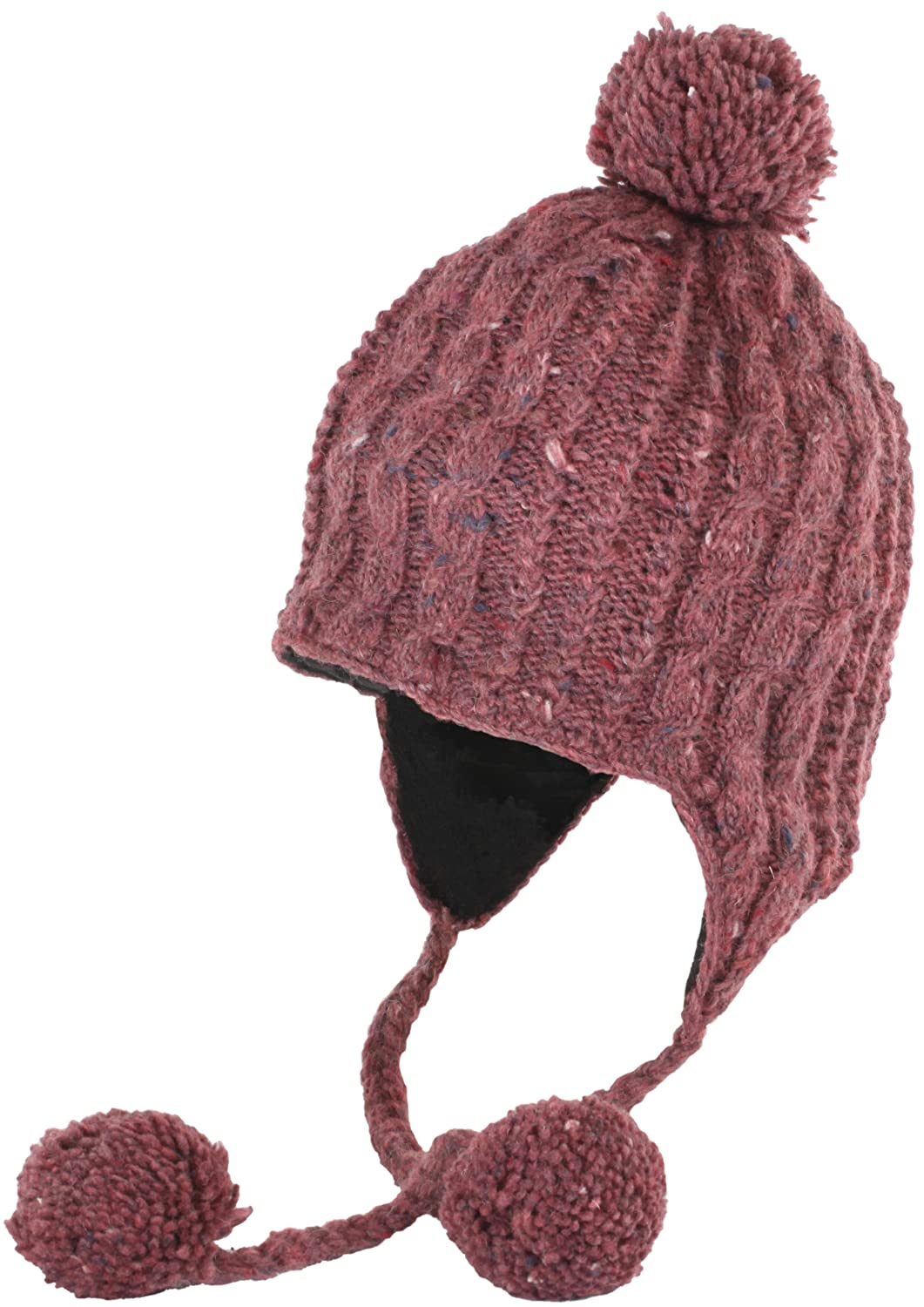 177515a78b64f1 Amazon.com: Nirvanna Designs CH514 Multi Cable Earflap Hat with Fleece,  Plum: Sports & Outdoors