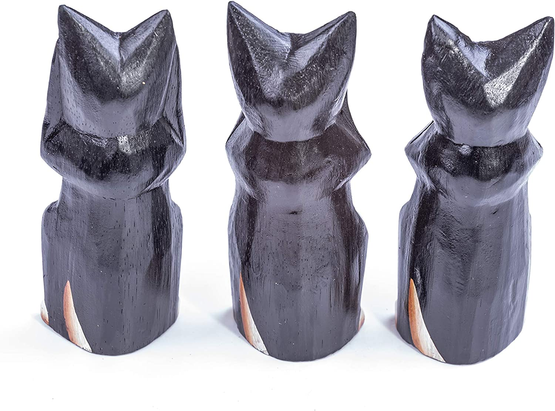 Hear NO Evil See NO Evil Speak NO Evil Unique Gift Ornament Sculpture Home Decoration Set of Three Hand Carved FAIR Trade Wooden Cats Statue